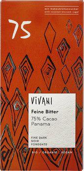 Vivani Feine Bitter Schokolade 75% Cacao Panama mit Kokosblütenzucker, 80g