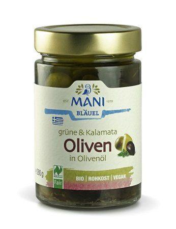 MANI grüne Bio Oliven & Kalamata mit Kräutern