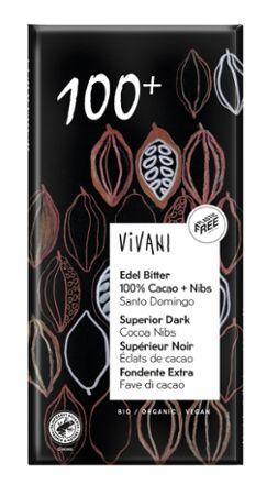 Vivani Edel Bitter 100% Bio Cacao + Cacao-Nibs, 80g